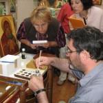 Cession de formation sur la pose de la feuille d'or à l'atelier Sainte Théodora.